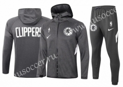 2020-2021 Los Angeles Clippers Gray Thailand Soccer Jacket Uniform With Hat-815