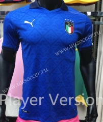 Player Version 2020 European Cup Italy Home Blue Thailand Soccer Jersey AAA-818