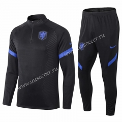 2020-2021 Netherlands Black Thailand Soccer Tracksuit Uniform-411