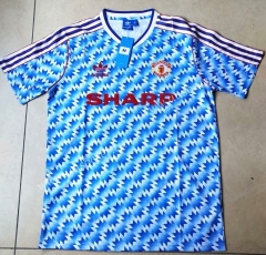 1992 Retro Version Manchester United Blue Thailand Soccer Jersey AAA-912