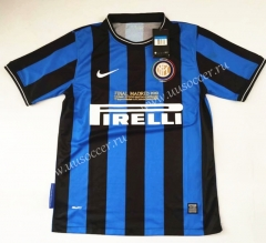 2009-2010 Retro Version Inter Milan Home Blue & Black Thailand Soccer Jersey AAA-912