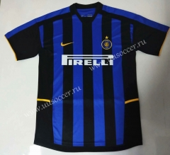 2002-2003 Retro Version Inter Milan Home Blue & Black Thailand Soccer Jersey AAA-912
