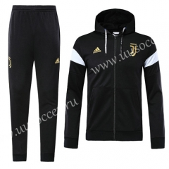 2020-2021 Juventus Black With Gold logo Thailand Soccer Jacket Uniform With Hat-815