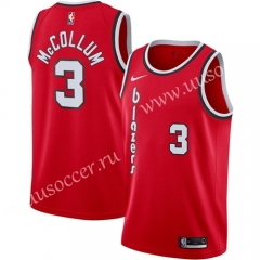 City Version NBA Portland Trail Blazers Red #3 Jersey