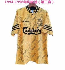 1994-1996 Retro Version Liverpool 2nd Away Yellow Thailand Soccer Jersey AAA