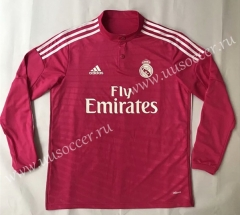 2014-2015 Retro version Real Madrid Away Pink Red LS Thailand Soccer Jersey AAA-SL