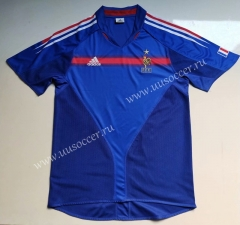 2004 Retro Version France Blue Thailand Soccer Jersey AAA-912