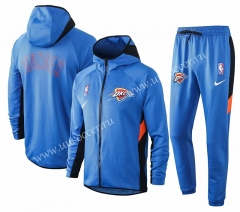 2020-2021 NBA Oklahoma City Thunder Blue With Hat Jacket Uniform-815
