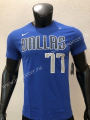 NBA Dallas Mavericks Blue #77 Cotton T-shirt