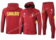 2020-2021 NBA Cleveland Cavaliers Red With Hat Jacket Uniform-815