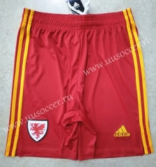 2020-2021 Wales Away Home Red Thailand Soccer Shorts AAA