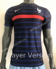 Player Version 2020 European Cup France Home Blue Thailand Soccer Jersey AAA