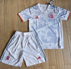 2020-2021 Spain Away White Soccer Uniform
