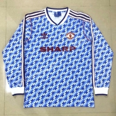 1990-1992 Retro Version Manchester United Away Blue &White LS Thailand Soccer Jersey AAA-908