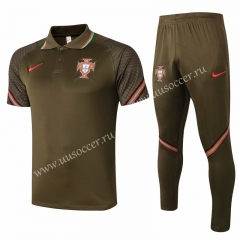 2020-2021 Portugal Army Green Thailand Polo Uniform-815