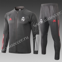 2020-2021 Real Madrid Dark Gray Thailand Soccer Jacket Uniform-815
