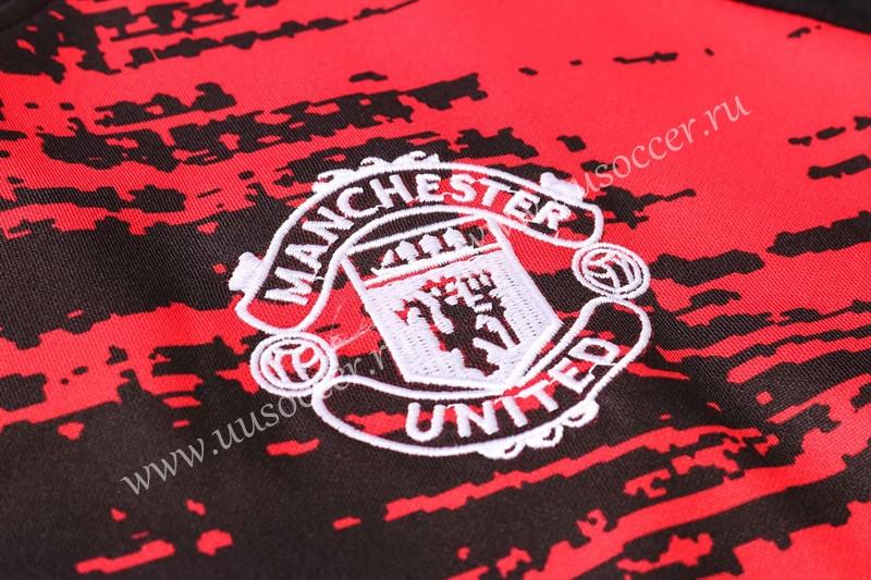 2020 2021 Manchester United Red Black Thailand Soccer Tracksuit Uniform 411 Manchester United