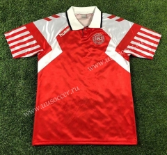 1992 UEFA Champions League Version Denmark Home Red Thailand Soccer Jersey AAA-503