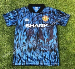 1992-1993 Retro Version Manchester United Away Blue Thailand Soccer Jersey AAA-503