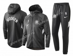 2020-2021 Brooklyn Nets Gray Soccer Jacket Uniform With Hat-815
