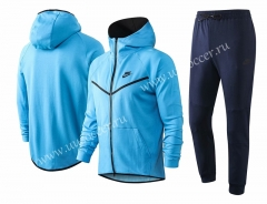 2020-2021 Nike Light Blue With Hat Soccer Jacket Uniform-815