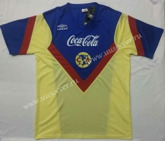 1988 Retro Version Club America Home Yellow Thailand Soccer Jersey AAA-912
