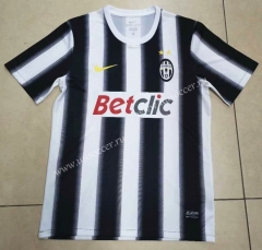 2012 Retro Version Juventus Home Black & White Thailand Soccer Jersey AAA-912