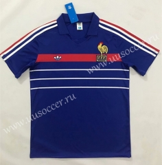 1984-1986 Retro Version France Home Blue Thailand Soccer Jersey AAA-SL
