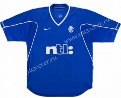 1999-2001 Retro Version Rangers Home Blue Thailand Soccer Jersey AAA-503
