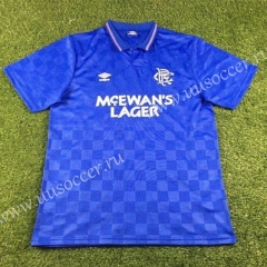 1987-1990 Retro Version Rangers Home Blue Thailand Soccer Jersey AAA-503