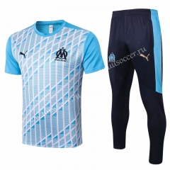 2020-2021 Olympique de Marseille Light Blue Shorts-Sleeve Thailand Soccer Tracksuit Uniform-815