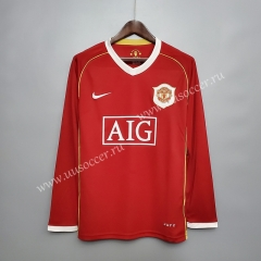 06-07 Retro Version Manchester United Home Red LS Thailand Soccer Jersey AAA