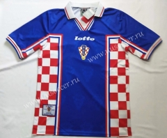 1998  Retro Version Croatia Away Blue Thailand Soccer Jersey AAA-912