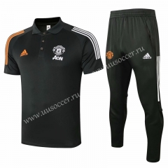 2020-2021 Manchester United Dark Gray Thailand Polo Uniform-815
