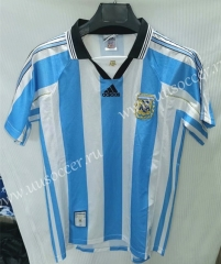 1998 Retro Version Argentina Home Blue and White Thailand Soccer Jersey AAA