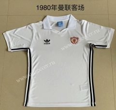 1980 Retro Version Manchester United Away White Thailand Soccer Jersey AAA-AY