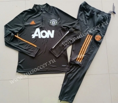 2020-2021 Manchester United Gray & Green Thailand Soccer Tracksuit Uniform-GDP