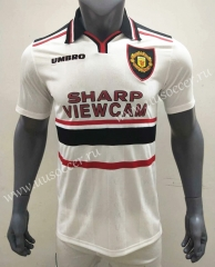 1998-1999 Retro Version Manchester United Away White Thailand Soccer Jersey AAA-416