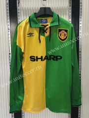 1992-1994 Retro Version Manchester United Yellow & Green LS Thailand Soccer Jersey AAA-C1046