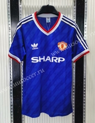 1986 Retro Version Manchester United Away Blue Thailand Soccer Jersey AAA-C1046