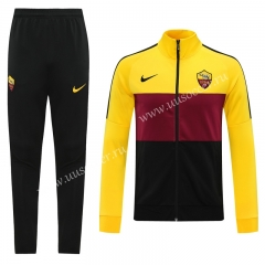 Player Version 2020-2021 Roma Black & Yellow Thailand Soccer Jacket Uniform-815