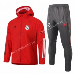 2020-2021 Real Madrid Red  Wind Coat Uniform With Hat-815