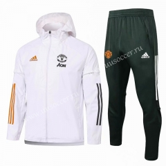 2020-2021 Manchester United White Wind Coat Uniform With Hat-815