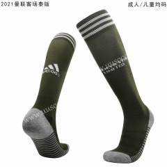 2020-2021 Manchester United Away Army Green Soccer Socks