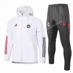 2020-2021 Real Madrid White Wind Coat Uniform With Hat-815