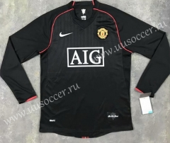 07-08 Retro Version Manchester United Black LS Thailand Soccer Jersey AAA-SL