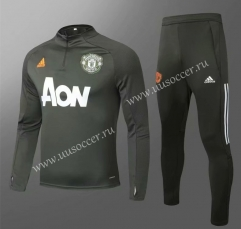 2020-2021 Manchester United Army Green Thailand Soccer Tracksuit Uniform-GDP