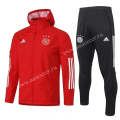 2020-2021 Ajax Light Red Thailand Soccer Wind Coat Uniform With Hat-815