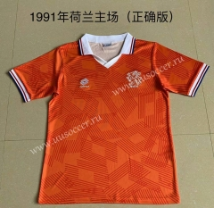 1991 Retro Version Netherlands Home Orange Thailand Soccer Jersey AAA-AY