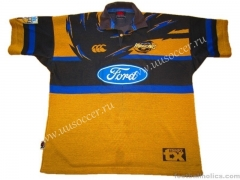 Retro Version Hurricane Home Yellow V Collar Rugby Shirt Home Yellow Rugby Shirt